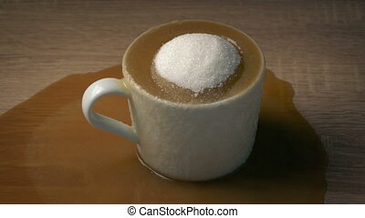 Coffee Has Too Much Sugar - Health Concept - Hot drink gets...