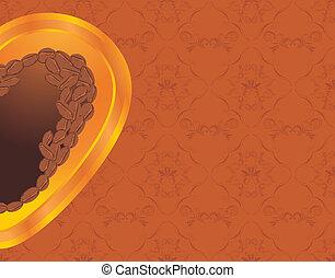 Coffee heart. Ornamental background