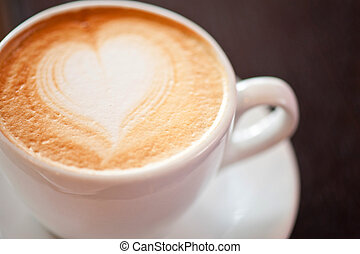 Coffee heart shape - Coffee cup with milk and heart shape