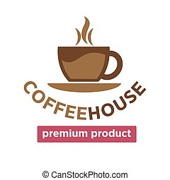 Coffee house, cafeteria or cafe vector cup steam icon...
