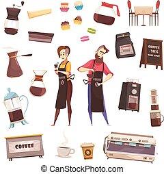 Coffee House Decorative Icons Set - Coffee house decorative...