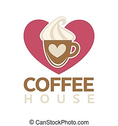 Coffee house emblem with cup of hot drink with thick sweet...