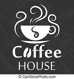 Coffee house logo design with cup silhouette on abstract background