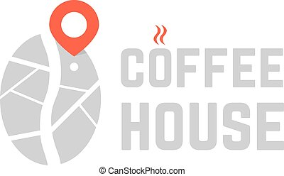 coffee house logo with map pin