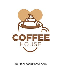 Coffee house logotype with big cup of delicious drink
