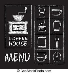 coffee house over blackboard background vector illustration