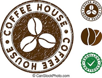 Coffee House Stamp with Distress Effect