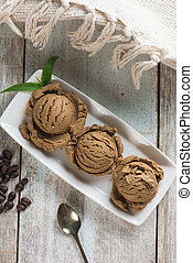 coffee ice cream with decorations