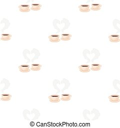 Coffee icon in cartoon style isolated on white background. Romantic pattern stock vector illustration.