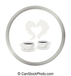 Coffee icon in monochrome style isolated on white background. Romantic symbol stock vector illustration.