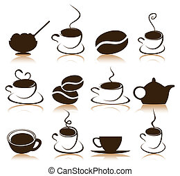 Coffee icon - Set of icons on a coffee theme. A vector...