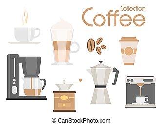 Coffee icon set, vector design elements