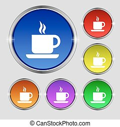 coffee icon sign. Round symbol on bright colourful buttons. Vector