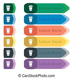 coffee icon sign. Set of colorful, bright long buttons with additional small modules. Flat design