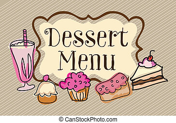 Coffee Icons - Dessert menu on vintage background, vector...