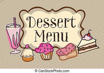 Coffee Icons - Dessert menu on vintage background, vector ...