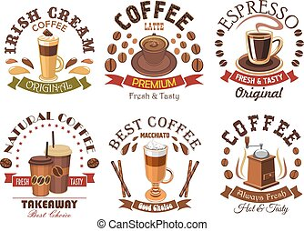Coffee icons for cafe signboard emblem