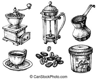 Coffee icons hand drawn set