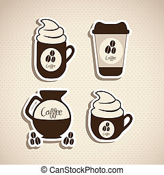 Coffee icons - illustration of coffee icons labels, isolated...