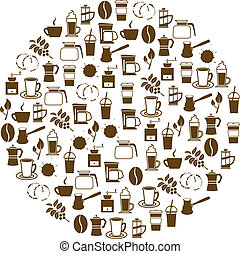 coffee icons in circle