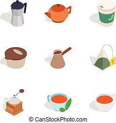 Coffee icons, isometric 3d style