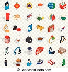 Coffee icons set, isometric style