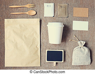Coffee identity branding mockup set top view with vintage filter