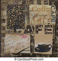 coffee illustration - collage painting with coffee and text