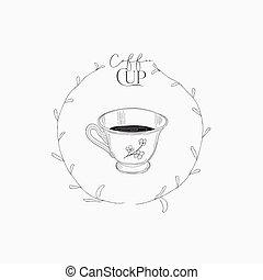 coffee., illustration, vecteur, tasse, dessiné, main