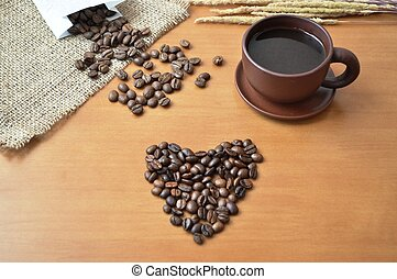 Coffee in a cup and coffee beans 2
