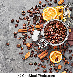 Concept of coffee with different spices