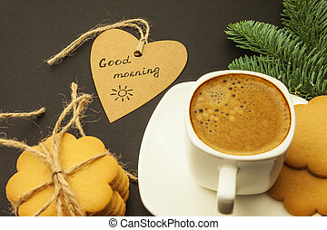 Coffee in a white cup, heart with an inscription good morning