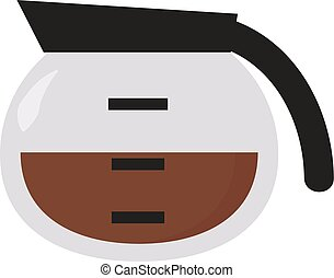 Coffee in bowl, illustration, vector on white background.