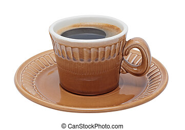 Coffee in cup on saucer isolated.