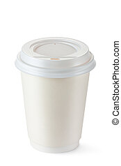 Coffee in disposable cup with plastic lid