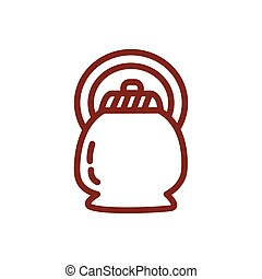 coffee in teapot drink line style icon