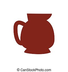 coffee in teapot drink silhouette style icon