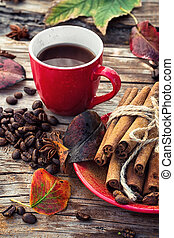 Coffee in the fall - Stylish porcelain Cup of coffee on...