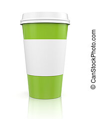Coffee in thermo cap. Green metaphor