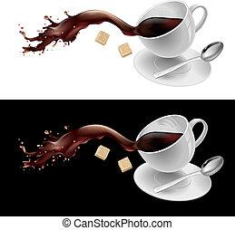 Coffee in white mug. Illustration on white and black...