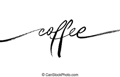 Coffee ink brush vector lettering. Single word handwritten vector calligraphy. Modern phrase handwritten black ink lettering isolated on white. Inscription for prints and posters, menu design