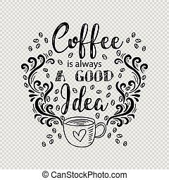 Coffee is always a good idea lettering
