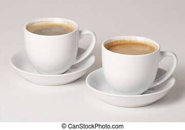 Coffee - Kaffee - two Cups of coffee on white Background - ...