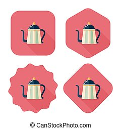 coffee kettle flat icon with long shadow, eps10