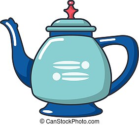 Coffee kettle icon, cartoon style