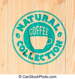 Coffee label on wood