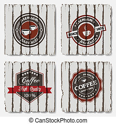 Coffee labels on old wood background