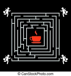 Coffee labyrinth - business man run for a cup of coffee background template