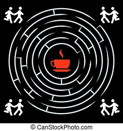 Coffee labyrinth - couple run for a cup of coffee background template