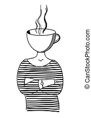 Coffee lady. Vector illustration on the theme of cold season.